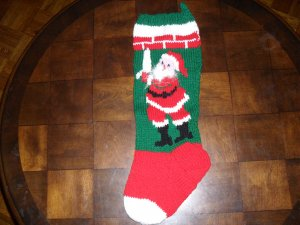 Handcrafted/Hand Made Heritage Knit Christmas Stocking - Santa Hanging a Stocking (Item#08)