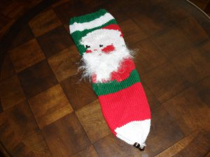 Handcrafted/Hand Made Heritage Knit Christmas Stocking - Santa Face (heel in back)(Item#12)