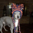 Hand Crafted Crocheted Cheerleader Hats for Small Dogs - Orange and Blue