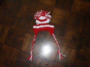 Hand Crafted Crocheted Cheerleader Hats  - Red and White