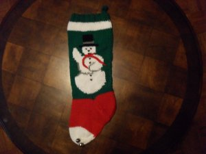 Handcrafted/Hand Made Heritage Knit Christmas Stocking - Snowman (Item#14)