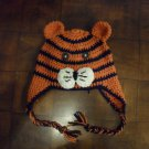Ear Flap Crocheted Tiger Hat/ Cap