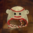 Handcrafted Crocheted Sock Monkey Ear-Flap Cap For Teen/Adult