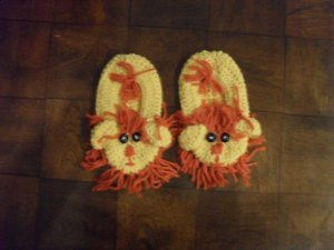 Crocheted Lion Slippers