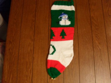 Handcrafted/Hand Made Heritage Knit Christmas Stocking - Snowman w/ Tree (Item#19)