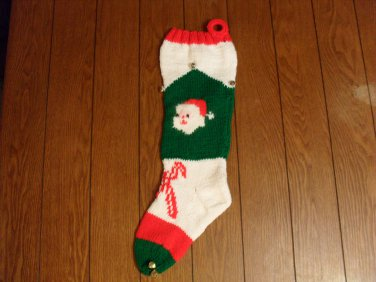 Handcrafted/Hand Made Heritage Knit Christmas Stocking - Santa Head w/ Candy Canes (Item#23)