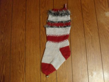 """Handcrafted/Hand Made Heritage Knit Stocking - """"Roll Tide"""" (Item#35)"""