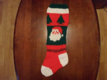 Handcrafted/Hand Made Heritage Knit Christmas Stocking - Santa and Trees (Item #49)