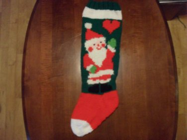 Handcrafted/Hand Made Heritage Knit Christmas Stocking - Santa with Heart (Item #50)