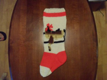 Handcrafted/Hand Made Heritage Knit Christmas Stocking - Western Saddle (Item #54)