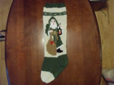 Handcrafted/Hand Made Heritage Knit Christmas Stocking - Old World Santa (Item #56)