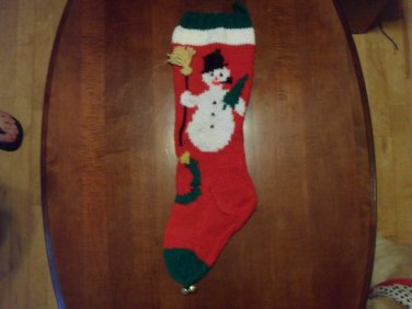Handcrafted/Hand Made Heritage Knit Christmas Stocking - Snowman w/ Broom (Item#18)