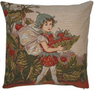 Tapestry Panel STRAWBERRY FAIRY Cicely  Barker 14x14