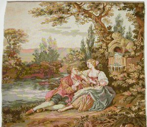 Tapestry Upholstery Fabric Chair Panel FLUTE PLAYER New Woven in Italy, 26x28