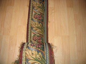 Tapestry Fabric Border Trim 7 Inch GREEN BURGUNDY, 5 YD