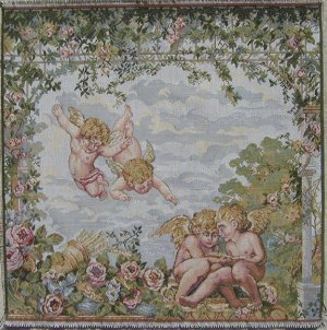 Italian Tapestry Fabric Panel ANGELS 20x20 Free Shipping