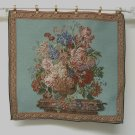 Tapestry Fabric Panel FLOWER BOUQUET Aqua Blue 20x20