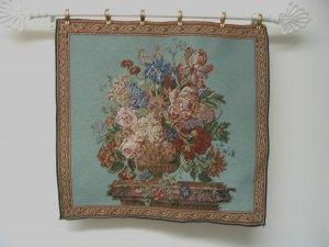 Tapestry Fabric Panel FLOWER BOUQUET Aqua Blue 20x20