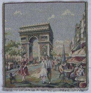 Italian Tapestry panel Paris Arc 14 x 14 Free Shipping