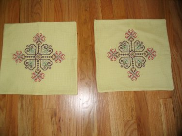 Vintage hand embroidered pillow cover set of two