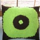 Pillow cover Crochet Lime Green and Brown Vintage