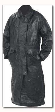 Genuine Leather Cowboy Duster-Style Coat - Medium