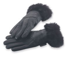Giovanni Navarre Solid Leather Gloves Trimmed With Genuine Rabbit - Medium