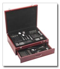 Sterlingcraft 84pc Stainless Steel Flatware Set in wood display box