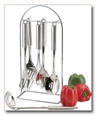 Maxam 7pc Surgical Stainless Steel Kitchen Tool Set With Tubular Stainless Handles