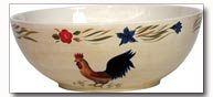 Maxam Rooster Pattern Hand Painted Stoneware 3qt Deep Bowl
