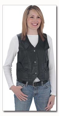 Giovanni Navarre Genuine Lambskin Solid Leather Ladies Black Vest - Large