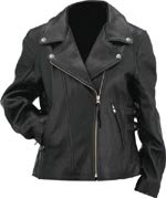 Evel Knievel Ladies Black Genuine Leather Classic Motorcycle Jacket - Medium