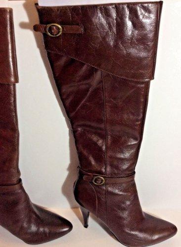 Nine West Brown Leather Zip Knee High Heel Boots Buckle Size 9.5 M