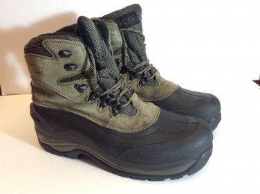 CHAMPION Thermolite Insulated Black Brown Snow Rubber Duck Boots Men's Sz 12