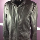 Women's Gallery Black Leather Jacket Size Small Genuine Lamb Zip Pockets