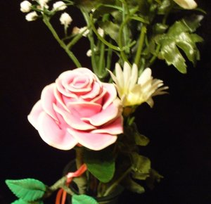 Rose Bouquet # 12 Polymer Clay Rose & Leaves -handmade By Treasure Vallie