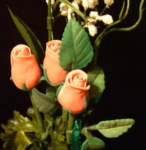 Rose Bouquet # 21 Polymer Clay Rose & Leaves -handmade By Treasure Vallie