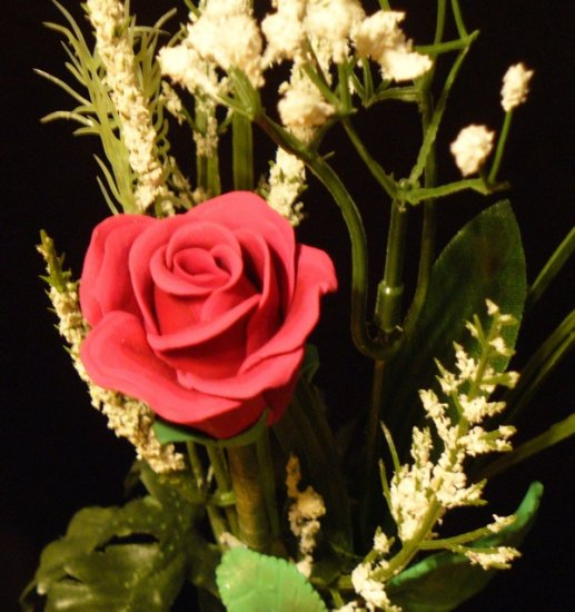 Rose Bouquet # 22 Polymer Clay Rose & Leaves -handmade By Treasure Vallie