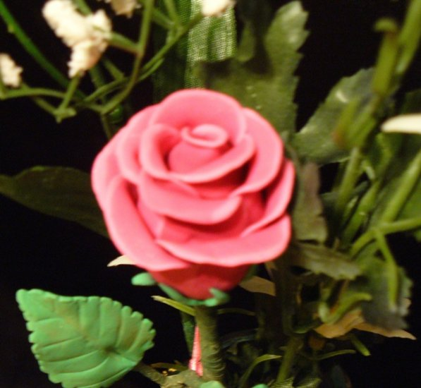 Rose Bouquet # 27 Polymer Clay Rose & Leaves -handmade By Treasure Vallie