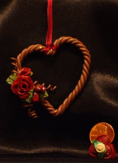 Heart Wreath Ornament # 5 handmade from Polymer Clay by Treasure Vallie