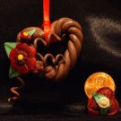 Heart Wreath Ornament # 6 handmade from Polymer Clay by Treasure Vallie