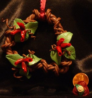 Heart Wreath Ornament # 7 handmade from Polymer Clay by Treasure Vallie