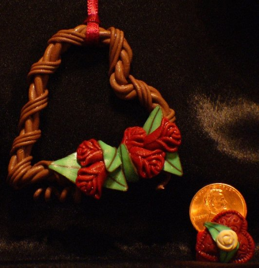 Heart Wreath Ornament # 8 Handmade from Polymer Clay by Treasure Vallie