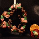 Heart Wreath Ornament # 9 Handmade from Polymer Clay by Treasure Vallie