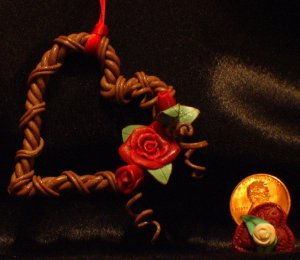 Heart Wreath Ornament # 10 Handmade from Polymer Clay by Treasure Vallie