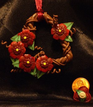 Heart Wreath Ornament # 16 Handmade from Polymer Clay by Treasure Vallie