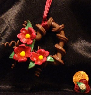 Heart Wreath Ornament # 17 Handmade from Polymer Clay by Treasure Vallie
