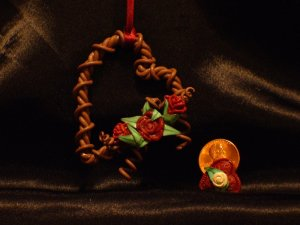 Heart Wreath Ornament # 18 Handmade from Polymer Clay by Treasure Vallie