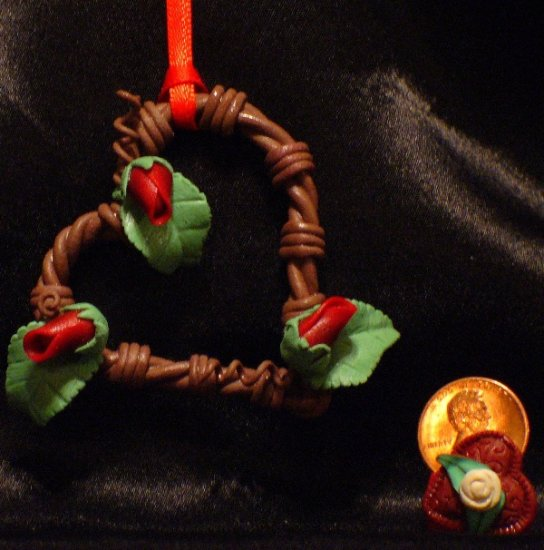 Heart Wreath Ornament # 21 Handmade from Polymer Clay by Treasure Vallie