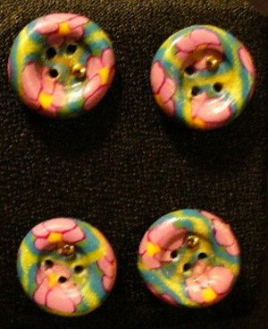 Button Set # 4 Polymer Clay Button Set of 4 - handmade from Polymer Clay by Treasure Vallie